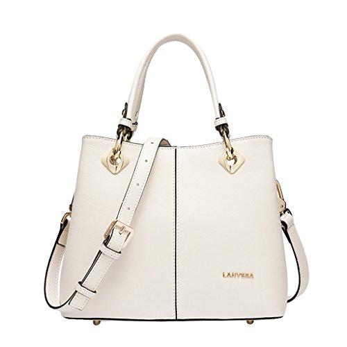 Mena UK Damen Designer erste Schicht aus Leder Style Large Tote Bag Schulter Satchel Handtasche ( Farbe : Off white , größe : 26cm*20cm*12cm ) (Leder-tote Off-white)