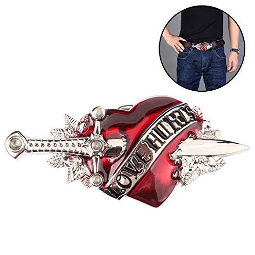 Aniwon Fibbia della cintura Moda spada cuore decorativo novità fibbia della cintura per le donne degli uomini