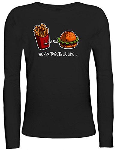 Valentinstag Damen Longsleeve Langarm T-Shirt mit Fries + Burger Motiv von ShirtStreet Schwarz
