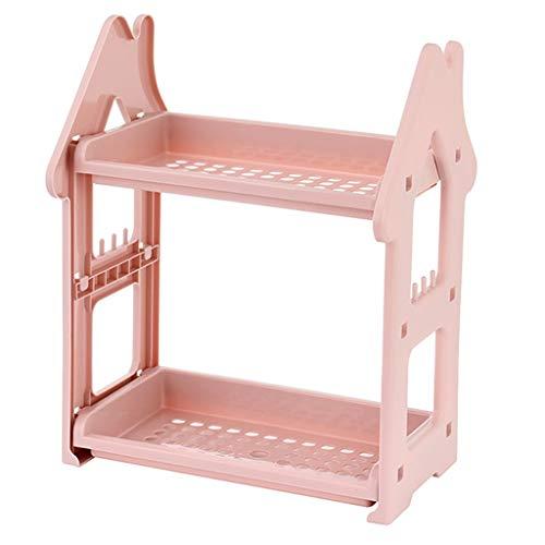 Bin Regalsystem (MFB 2-Lagen-Küchenregale Lagenlager Hohlchassis Waschtisch Waschregale Bad/Schlafzimmer Desktop Organizer Praktisch zum Sortieren von Dingen in Küchen, Badezimmern, Schreibtischen (Color : Pink))