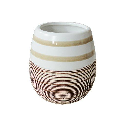 Weiß Beiger Zahnputzbecher - Becher aus Keramik - Badset NATURE BOWL - mediterranes Design