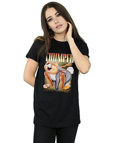 Disney Damen Bambi Thumper Montage Boyfriend Fit T-Shirt Schwarz Large