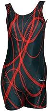 Women Swim Wear - Bodysuits [Sleeveless- Half Length] | Xtralife Lycra | DTS Print (Curved Lines) - 0S
