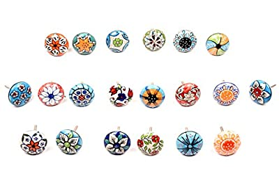 Multicolour Ceramic Drawers Knobs Door Cupboard Pulls Indian Mix Knobs - inexpensive UK light shop.