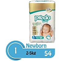 Predo Baby Newborn Advantage Pack Diapers, 2-5 Kg, 54 Piece, One Size (White)