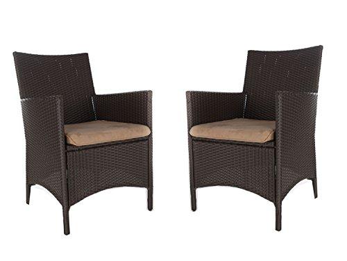 Gartenmöbel Set 2 Lounge Sessel ANCONA, 4-teilig, inkl. Auflagen, braun, LILIMO ®