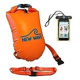 New Wave Schwimmboje für Openwater Schwimmer und Triathleten für Training und Wettkampf (Orange Nylon TPU Large 20L)