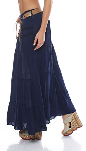malito gonna con cintura estate tratto Maxi A-linea 1116 Donna Taglia Unica blu scuro