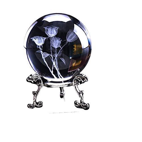 Design Napolo 3D Láser Grabado Rosa Cristal Bola Miniatura Flor Globo terráqueo Vidrio Esfera Inicio De