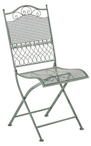 Chaise de jardin en fer coloris vert antique - 91 x 41 x 50 cm -PEGANE-