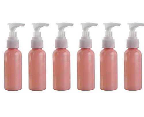 6PCS 50ml/1.7oz Plastikpumpe Phiole-Flaschen mit Verschluss-System-kosmetische Verfassungs-Creme-Lotion-Speicher Contanier Shampoo-Bad-Duschen-Halter-Organisator-Reinigungs-Öl-Zufuhr (Rosa) -