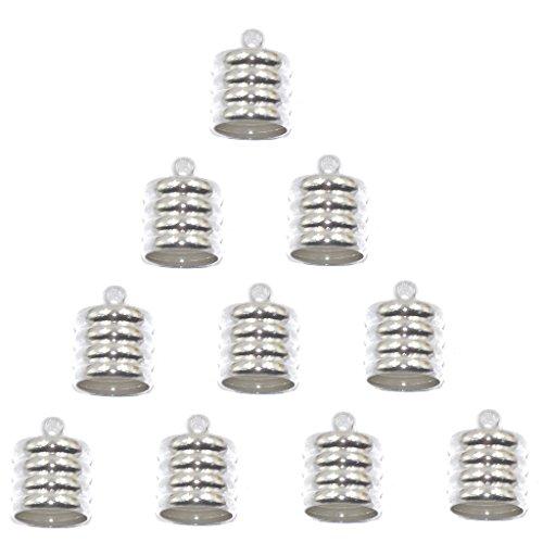 sharprepublic 10 Stücke Schnur Endkappe Perlen Stecker Schmuck Machen Erkenntnisse - Silber (Machen Endkappen Für Schmuck)
