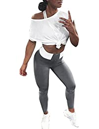 Yvelands Mujeres Liquidación Cintura Alta Yoga Fitness Leggings Running Gym Stretch Pantalones Deportivos Pantalones