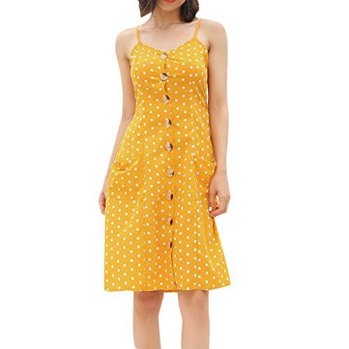 Sommer Casual Kleider Damen Elegant Petticoat Kleid Büro Lose Business Büro Dress Mädchen Böhmen SEXYYEDE Sling Polka Dot Print Mini Knielanges Kleid/Gelb,S - Kind 50 S Polka Dot Rocker