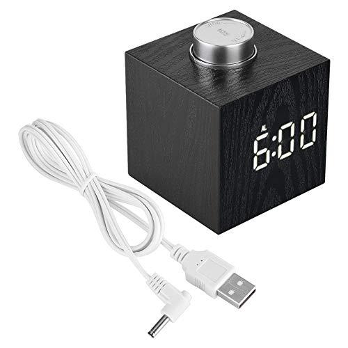 Reloj despertador digital de madera LED luz multifuncional moderno reloj de cubo fecha visualización...