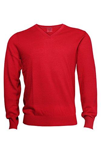 Olymp Strick V-Ausschnitt Pullover rot Chianti