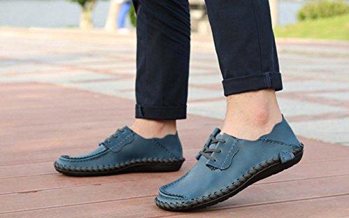 NobS Hommes Chaussures rondes Chaussures Chaussures Casual Chaussures Toe Blucher Mocs Chaussures en cuir pour bateaux Navy