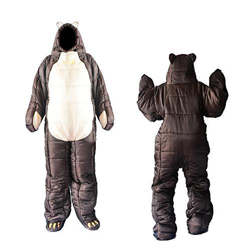 Campeggio esterno sacchetto della mummia a pelo, sacco a pelo indossabile camminare sacco a pelo, sacco nanna impermeabile per escursionismo portatile, sacco nanna per adulti in flanella di cotone