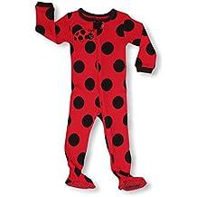 35a4867901 Pijama De 1 Pieza para Chicas con Suelas Y Diseño De Lunares Mariquita 100%  Algodón