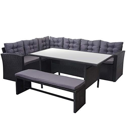 Mendler Poly-Rattan-Garnitur HWC-A29, Gartengarnitur Sitzgruppe Lounge-Esstisch-Set, schwarz ~ Kissen dunkelgrau, mit Bank