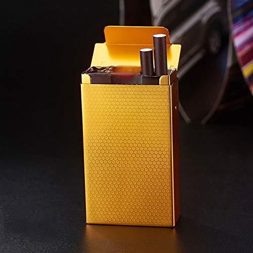 SXFYHXY Metall-Zigarettenetui ultradünne tragbare 20 Sticks weiche und Harte universelle Aluminiumlegierung wasserdicht feuchtigkeitsbeständige Zigarettenetui,Yellow,91x58x26mm -