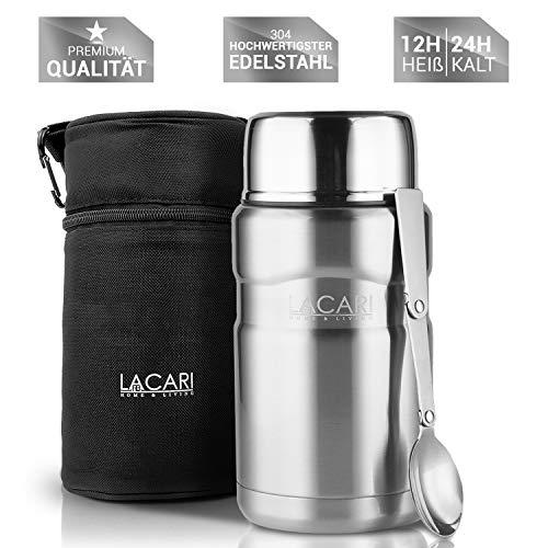 Lacari ® contenitore termico a tenuta stagna per alimenti e liquidi - borsa termica gratuita - scatola riscaldante con cucchiaio - contenitore per alimenti senza bpa - contenitore isolato da 700 ml.