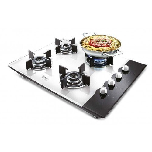 Prestige Hob Glass Top 4 Burner Auto Ignition Gas Stove, Black/White