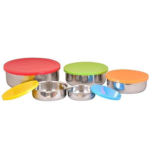 Contenitori in acciaio INOX ciotola con coperchio ermetico in plastica colorata 5Pc (Designers Lunch Box)