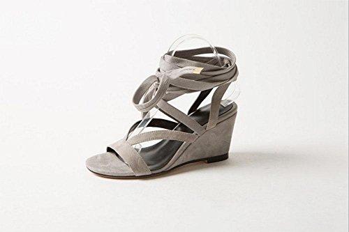 Frau Retro-Mode Sandalen Rom Hang mit offenen Zehenledersandale Frauen Grey