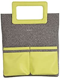 Veuza Berlin Premium Jacquard And Faux Leather Gunmetal Grey Women's Tote Bag