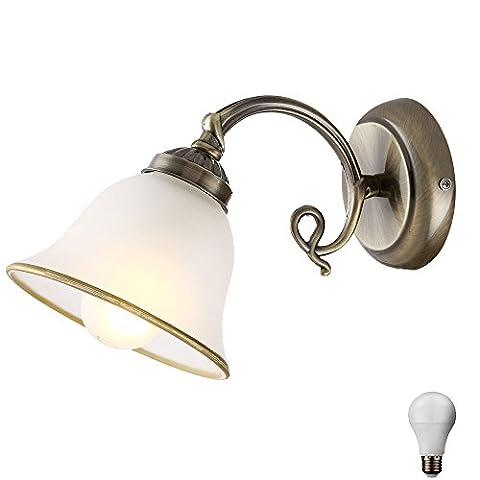 Wand Leuchte Landhaus Stil Beleuchtung Alt Messing Glas Lampe satiniert im Set inkl LED Leuchtmittel