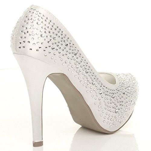 Femmes talon haut chaussures plateforme mariage strass eleganté escarpins Ivoire avec strass
