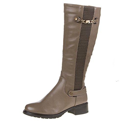 Damen Schuhe, 656-PG, STIEFEL Braun Grau