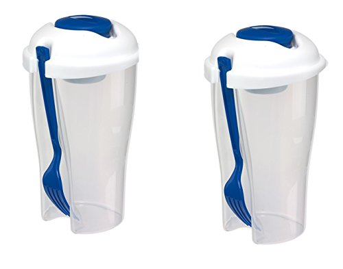 Dressing Halter (Salatbecher 2er Set Blau to go Dressingbehälter Obstbecher 850ml mit Gabel für Aufbewahrungsbox Spülmaschine und Microwelle geeignet)
