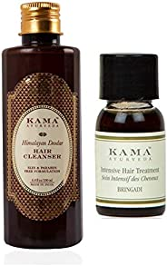 Kama Ayurveda Himalayan Deodar Hair Cleanser (Shampoo) 200ml, Bringadi Intensive Hair Treatment 8ml Combo