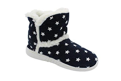 Kinder Stiefel Hausschuhe Pantoffel Schuh Norweger Hüttenschuhe Warmfutter BA410508 (31, Blau)