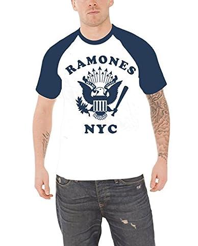 Ramones T Shirt Retro Eagle NYC band logo Official Mens White Raglan L