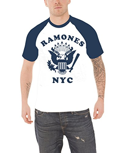 Ramones T Shirt Retro Eagle NYC band logo Nue offiziell Herren Weiß Raglan - Nyc Womens Raglan Hoodie