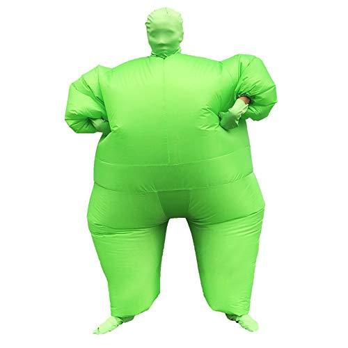 SuaMomente Aufblasbarer Monster Kostüm Lustiger Green Masked Man erwachsenes Cosplay Erwachsene Halloween-Partei-Festival-Kleidung
