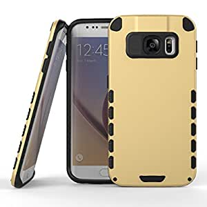 Cheetah Galaxy S6 Edge Case, Tough Rugged Shock Proof Dual Layer Hybrid Anti Scratch Bumper Back Cover For Samsung Galaxy S6 Edge - Gold