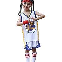 Uniforme de Baloncesto para niños y niñas Golden State Warriors # 30 Stephen Curry Camiseta de Baloncesto para niños Conjunto de Dos Piezas, Pantalones Cortos de Verano + Conjunto de Chaleco-White-