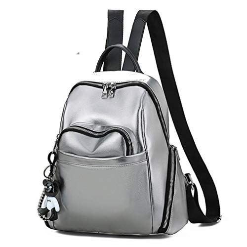 J.SPG Für weibliche Rucksack Tasche Rucksack koreanischen Stil Student solide Retro Teenager rucksäcke für mädchen geldbörse,Silver - Koreanischen Tasche