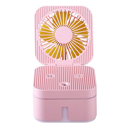 Fan Luftbefeuchter mit Atmosphäre Lampe Büro tragbare Luftreinigung Luftbefeuchter Fan Mini Fan tragbarer Ventilator Geräuscharmer Betrieb Umweltfreundlich (Rosa)