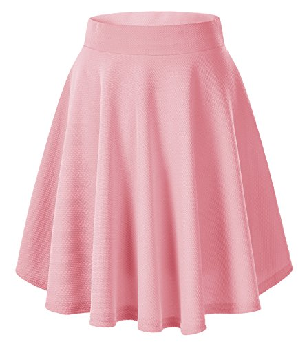 Urban goco donna moda svasata mini gonna da pattinatrice versatile elastica solida colore gonna rosa-lungo m