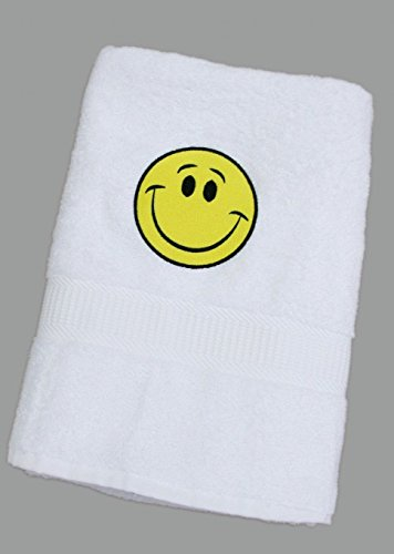 Weißes Badelaken / Duschtuch / Handtuch mit gelben Smiley 70 x 140 cm (Weiße Badelaken)