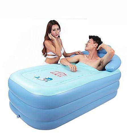 Baignoire gonflable pour enfant portable portable Baignoire pliante gonflable pour adulte (bleu et rose, 160cm * 84cm * 64cm) QLM-Inflatable Bathtub and Inflatable plunge bath ( Color : Bleu )