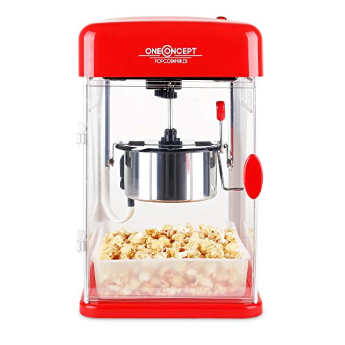 oneConcept Rockkorn Popcorn Machine • Classic Popcorn Maker • For Crispy Popcorn • Stainless Steel • 350 W • Shot Heating Time • High Yield 7 Retro 1950s Look • Commercial Kettle • Pot with Biult-In Heating System and Agitator Healthy • Vintage • Red
