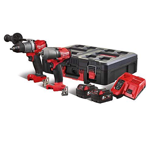 Milwaukee 4933471147 Schlagschrauber Set M18 FPP2E2-502P 2X 5,0 Ah Akkus + Lader in PACKOUT, Red & Black