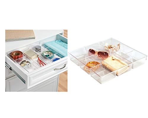 iDesign Aufbewahrungsbox mit 7 Fächern, kleine Schubladenbox aus Kunststoff, Schubladen Organizer für Schrank oder Schminktisch, durchsichtig