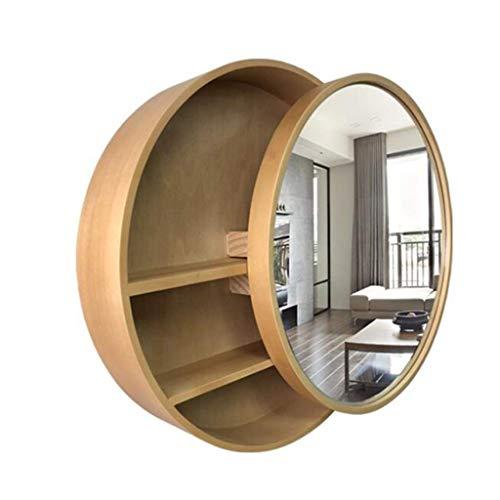 Moderne-holz-badezimmer-eitelkeit (Spiegel? Badezimmer-Kabinett-runder Toiletten-Wand-Möbel-Eitelkeit mit Speicherregal-Schließfach 50cm (Farbe: Holz, Größe: 50cm))